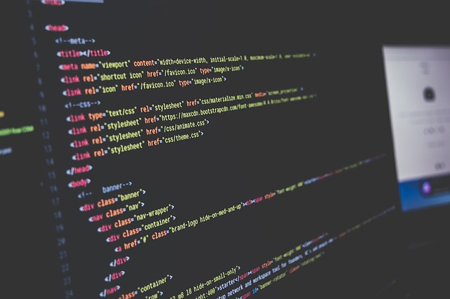 počítačový kód na obrazovce